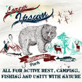 Design of vintage styled poster or flayer for national parks or with mountains bear and fish all active rest camping and fishing Stock Photography