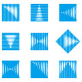 Design wave round vector logo template rectangular rhombus icon set you can use in the construction factories mobile media Royalty Free Stock Photo