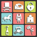 Design wedding flat icons for web and mobile vector set of items Royalty Free Stock Photo