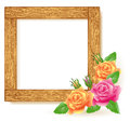 Design wooden photo frames with roses Stock Photo