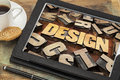 Design word on digital tablet abstract in letterpress wood type a with cup of coffee Royalty Free Stock Image
