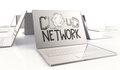 Design word hand drawn CLOUD NETWORK and 3d laptop computer Royalty Free Stock Image