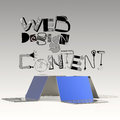 Design word WEB DESIGN CONTENT and laptop 3d computer Royalty Free Stock Photo
