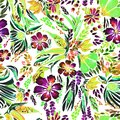 Designer bright floral watercolor pattern