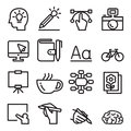 Designer icon set in thin line style Royalty Free Stock Photo