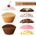 Designer options for muffins, cupcake in realism