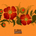 Designer paper with poppy band at orange phone seamless colorful vector floral abstract background Royalty Free Stock Photography