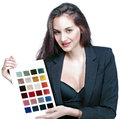 Designer presenting color fabrics professional showing palette or fabric samples Stock Images