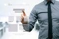 Designer presenting website development wireframe on virtual screen Stock Image