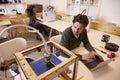 Designer Printing Design Using 3D Printer Royalty Free Stock Photo