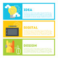 Designer s process of work from idea to result idea digital drawing design modern illustration in flat style Royalty Free Stock Images