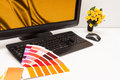 Designer at work color samples graphic brown yellow images Stock Photos