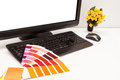 Designer at work color samples graphic space your photo or image Stock Photo