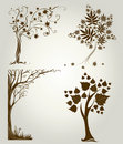 Designs with decorative tree from leafs Royalty Free Stock Images