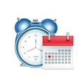 Desk alarm clock with calendar isolated on white Royalty Free Stock Photo