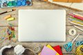 Desk of an artist Royalty Free Stock Photo
