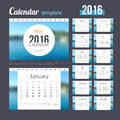Desk Calendar 2016 Design Template with Nature Coast Water Background. Sunday Start. Set of 12 Months. Royalty Free Stock Photo