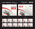 Desk Calendar 2018 template design, red cover, Set of 12 Months, Royalty Free Stock Photo