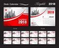 Desk Calendar 2018 template design, red cover, Set of 12 Months,