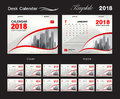 Desk Calendar 2018 template design, red cover, Set of 12 Months, corporate calendar idea