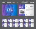 Desk Calendar 2018 template layout design, Purple cover