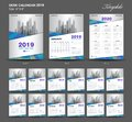 Desk Calendar 2019 year size 6 x 8 inch template, blue calendar 2019 template, Set of 12 Months, Week Starts Monday