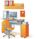 Desk, computer, chair- office Stock Image