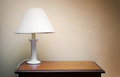 Desk lamp against wall Royalty Free Stock Photography