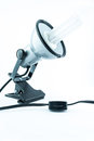 Desk lamp on white background modern chome or silver an office nice modern isolated Stock Photography