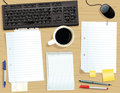 Desk with loose papers