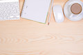 Desk with notepad, keyboard, mouse, pencil and a cup of coffee Royalty Free Stock Photo