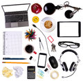 Desk objects top view of various isolated on white background Royalty Free Stock Photography