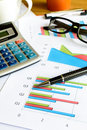 Desk office business financial accounting calculate graph analy analysis Stock Photography