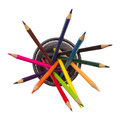 Desk organizer filled with pencils colored isolated on white background Royalty Free Stock Photos