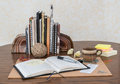 Desk Scene With Open Journal Royalty Free Stock Photo