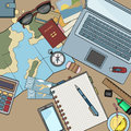 Desk top view filled with various items Royalty Free Stock Photo