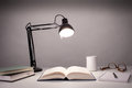 Desk of a writer vintage black lamp isolated on white Stock Photo