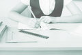 Desktop background of student sitting at desk for classwork Royalty Free Stock Photo