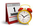 Desktop calendar and alarm clock Stock Photo