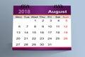Desktop Calendar Design, August 2018