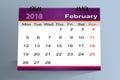 Desktop Calendar Design, February 2018