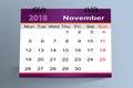 Desktop Calendar Design, November 2018