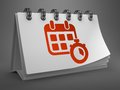 Desktop calendar with red icon time concept white of timer on gray background Stock Photography