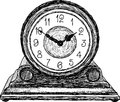 Desktop clock vector drawing of a old table Royalty Free Stock Photography