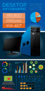 Desktop computer infographic elements vector illustration Stock Photos