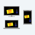 Desktop computer, laptop and tablet with locks and signs saying keep out on their screens. Vector