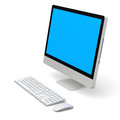 Desktop computer modern with blue screen on white background Stock Photography
