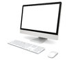 Desktop computer modern with white blank screen on white background Stock Photo