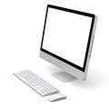 Desktop computer modern with white blank screen on white background Royalty Free Stock Image