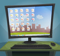 Desktop computer with operating system on screen illustration of a cartoon at night turned within files icons folders and Royalty Free Stock Photo